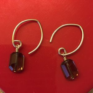 Jewelry - Handmade .925 Silver Smokey Quarts Drop Earrings